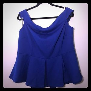 Eloquii Plus Size Blue Blouse Peplum Off Shoulder
